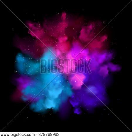 Purple Powder Explosion Effect On Black Background