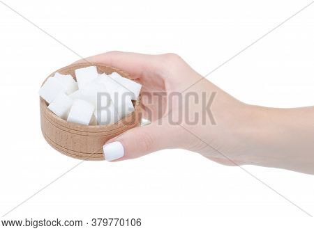 Wooden Bowl With Sugar Cubes In Hand On White Background Isolation