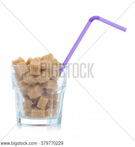 Glass With Cane Brown Sugar Cubes On White Background Isolation