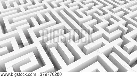 Labyrinth 3d Vector. Maze Game. Classic Box Labyrinth In White Color And High Walls. Gray Maze For Y