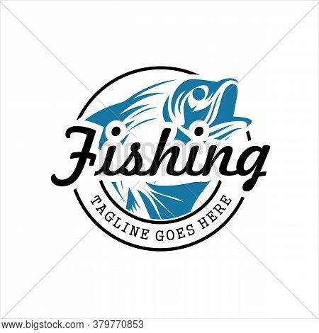 Title Fishing Logo. Bass Fish Club Emblem. Fishing Theme Vector Illustration , Luxury Logo Design T