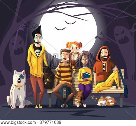 Halloween Characters Friends. Characters' Colors Are Halloween Pumpkin. Happy Halloween Characters F