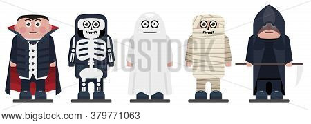 Halloween Kids Wearing Monsters Costumes. Happy Halloween Characters For Your Business Project. Hall