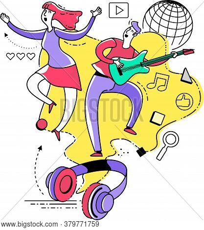 Flat Illustration Design For Presentation, Web, Landing Page, Infographics: Man And Woman Dancing An