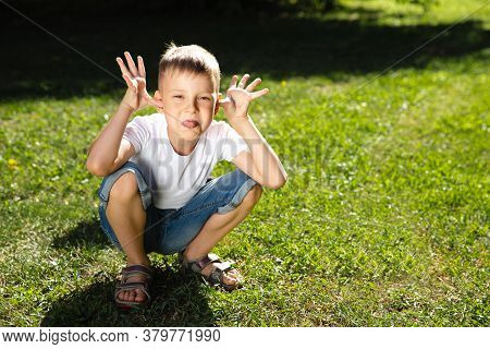 Happy Boy Child Is Smiling And Teasing. Portrait Of Young Boy In Nature, Park, Outdoor. Summer Recre