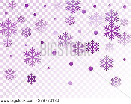 Crystal Snowflake And Circle Elements Vector Graphics. Windy Winter Snow Confetti Scatter Poster Bac