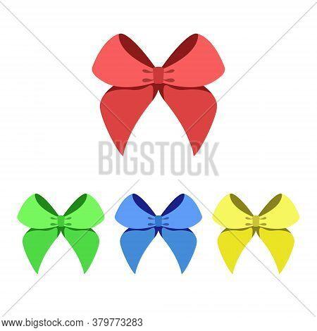 Set Of Multicolored Bows. Vector Illustration Isolated On White Background, Simple Design
