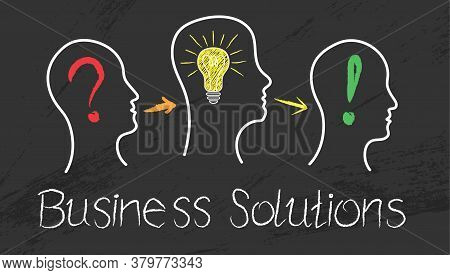 Business Development Strategy. Hand-drawn Illustration On The Topic Of Business Solutions.
