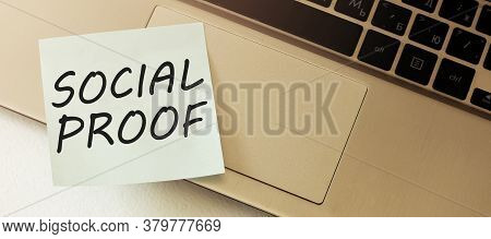 Social Proof. Blank Paper Out Of A Laptop Screen, Isolated On White Background