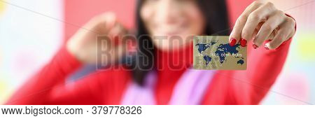 Female Fashion Designer Holding Credit Card Hands. Payment Via Internet For Selection Stylish Clothe