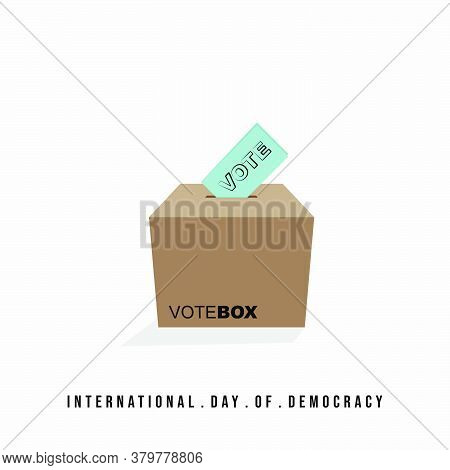 International Day Of Democracy Design With Vote Box From Cardboard Vector Illustration.