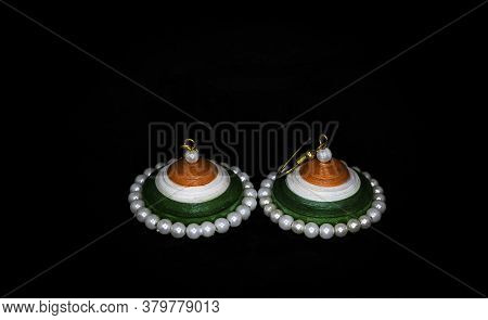 Indian Flag, Tiranga, Tricolor, Made With Quelling Paper. Tricolor Earring. Independence Day Concept