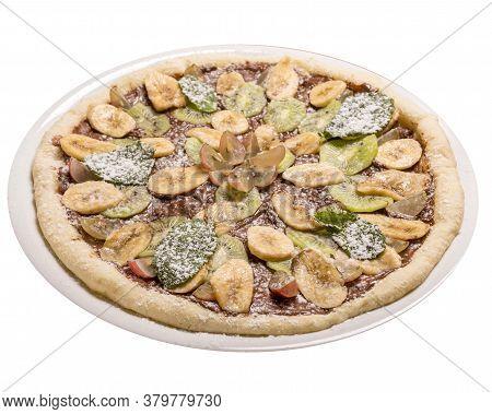 Sweet Pizza Children Nutela, Banana, Kiwifruit, Grapes, Mint . Isolated Image On A White Background.
