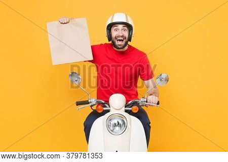 Delivery Man Helmet Red T-shirt Uniform Driving Moped Motorbike Scooter Hold Craft Paper Packet With