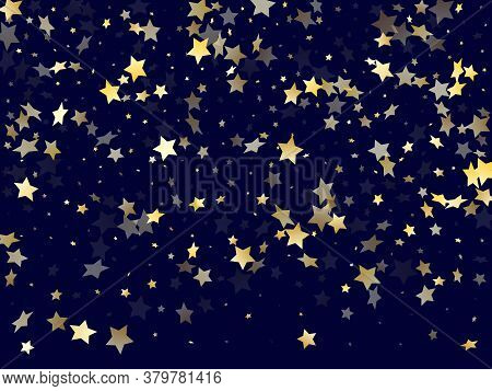 Gold Falling Star Sparkle Elements Of Glitter Gradient Vector Background. Astral Confetti Gold Stars