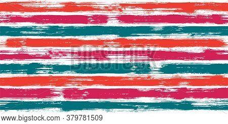 Modern Watercolor Brush Stripes Seamless Pattern. Ink Paintbrush Lines Horizontal Seamless Texture F