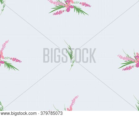Seamless Pattern Of Lavender Flowers On A White Background. Floral Pattern With Lavender For Packing