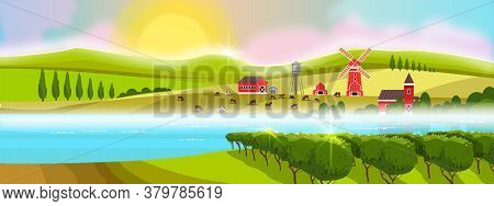 Vineyard rural landscape with cypress, morning sun, mill, farm buildings, river, green hills in fog. Countryside rural view with vineyard, lake, clouds, lake, livestock. Horizontal rustic background