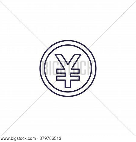 Yen Coin Vector Line Icon, Eps 10 File, Easy To Edit