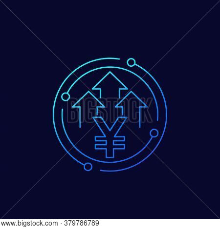 Yen Icon With Arrows, Growth Sign, Eps 10 File, Easy To Edit