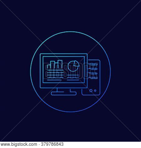 Workstation Computer Icon, Linear Vector, Eps 10 File, Easy To Edit