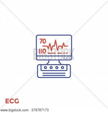 Ecg Machine, Heart Diagnostics Line Icon, Eps 10 File, Easy To Edit