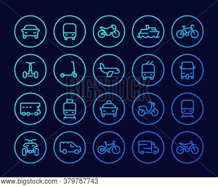 Transport Line Icons Set, Cars, Van, Bike, Motorbike, Bus, Train, Airplane, Taxi, Tuk Tuk And Quad B