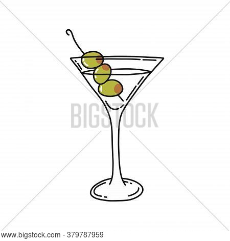 Martini Cocktail Doodle Icon, Vector Color Illustration
