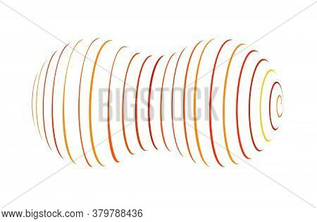 Molecule From Spiral Ribbon. Vector Logo. Color Outline Volume Sign. Abstract Revolve Lines From Two