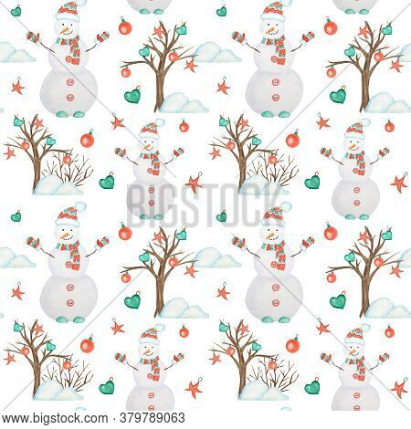 New Year Christmas Tree And Snowman Watercolor Seamless Pattern On White Background. Hand Drawn Vint