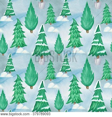 New Year Christmas Tree Watercolor Seamless Pattern Background. Hand Drawn Illustration For Vintage