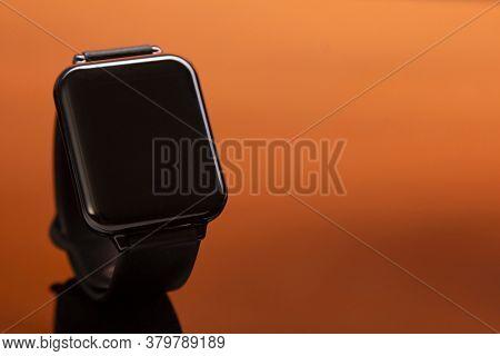 new smart watch mockup on orange background