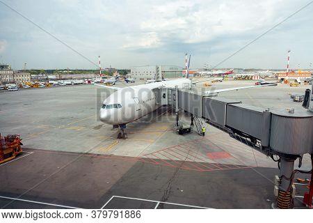 A Passenger Aircraft From The Telescopic Gangway.