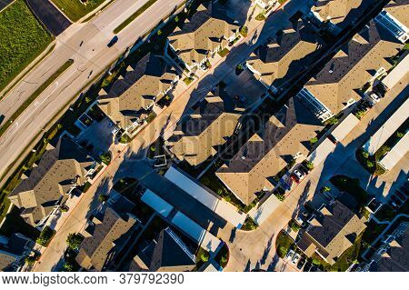 Straight Down Angle Aerial Drone Views Above Apartment Complex , Huge Buildings And Living Areas For