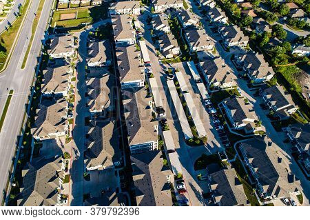 Aerial Drone Views Above Apartment Complex , Huge Buildings And Living Areas For Renting And Renters