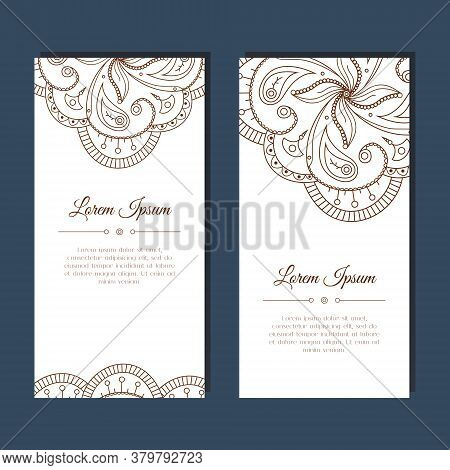 Cute Greeting Card With Floral Mehndi Ornament. Abstract Ornate Background. Good For Card, Wedding I