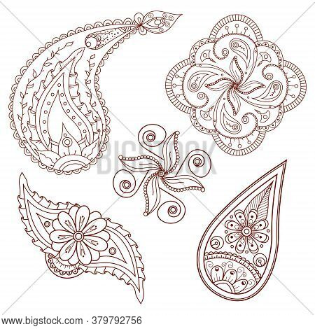 Set Of Abstract Flowers And Paisley Elements In Indian Mehndi Style. Hand Drawn Floral Doodles. Orie
