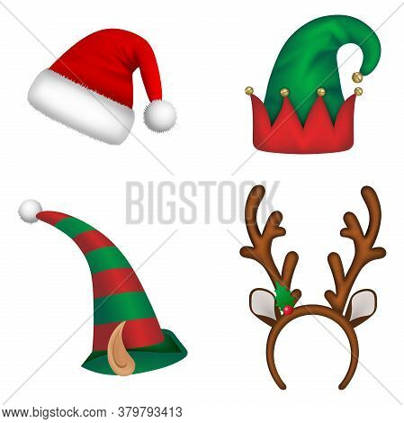 Set Of Christmas Hats. Santa Claus Hat, Elf Hats And Reindeer Horns Headband