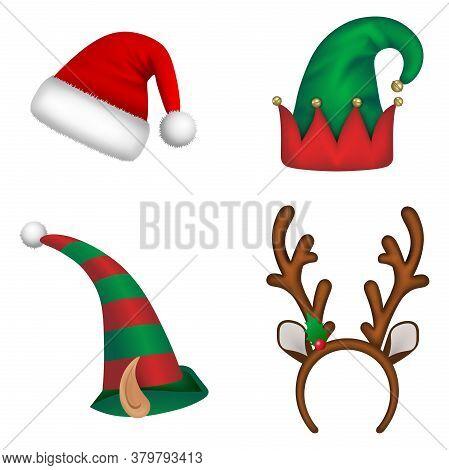 Set Of Christmas Hats. Santa Claus Hat, Elf Hats And Reindeer Horns Headband