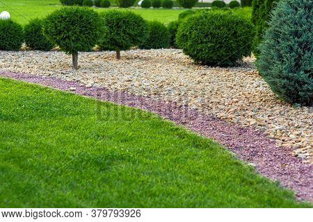 Landscaping Of A Backyard Garden With Ornamental Growth Cypress Bushes By Yellow And Red Stone Mulch