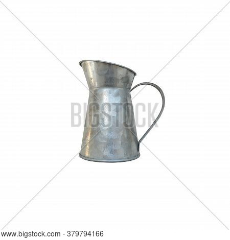 Vintage Old-fashioned Metallic Pitcher Isolated On The White Background Traditional Retro Style Jar