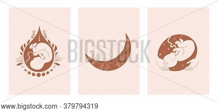 Motherhood, Maternity, Babies And Pregnant Women Logos, Collection Of Fine, Hand Drawn Style Vector