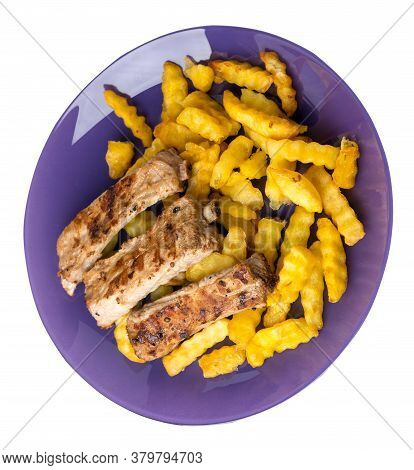 Grilled Pork Ribs With French Fries On A Plate. Pork Ribs With French Fries On A White Background. R