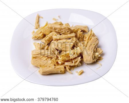 Soy Asparagus Noodles On White Plate, Isolated On A White Background. Healthy Food . Asian Food. Soy