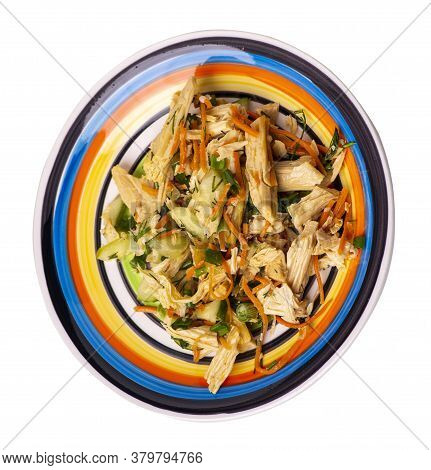 Salad With Soy Asparagus And Carrots, Cucumbers And Dumplings On White Black Blue Red Yellow Plate.
