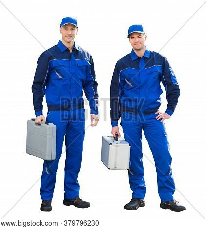 Isolated Happy Tradesman Construction Worker Men In Overalls