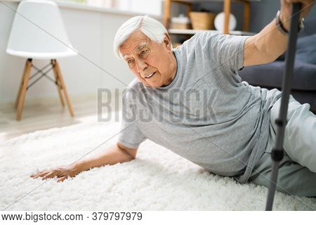 Elderly Senior Man Slip And Fall. Fallen Old Person