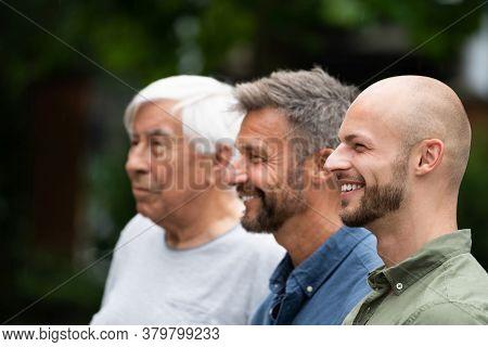 Three Generation Men Family Portraits Side View