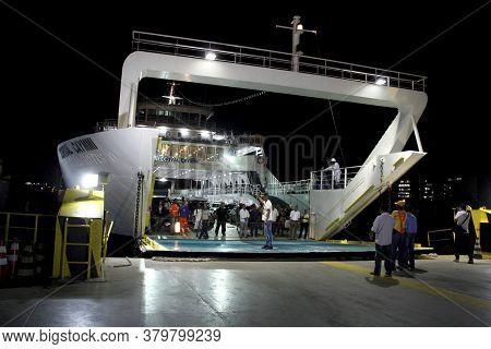 Salvador, Bahia / Brazil - October 1, 2014: Passengers Disembark From The Dorival Caymmi Ferryboat I