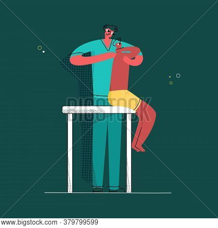 Vector Flat Illustration Osteopathic Doctor, Chiropractor, Who Treats His Patient S Back With Techni